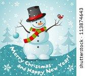 vector snowman. eps 10 vector...   Shutterstock .eps vector #113874643