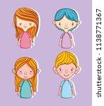 set of cute kids cartoons | Shutterstock .eps vector #1138771367
