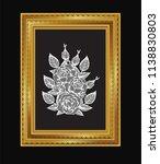 lace gold frame vector.rose... | Shutterstock .eps vector #1138830803