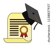 parchment diploma and hat... | Shutterstock .eps vector #1138837937