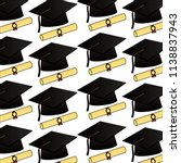 parchment diploma and hats... | Shutterstock .eps vector #1138837943