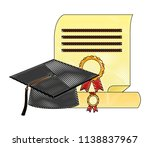 parchment diploma and hat... | Shutterstock .eps vector #1138837967