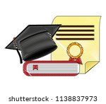 parchment diploma and hat... | Shutterstock .eps vector #1138837973