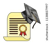 parchment diploma and hat... | Shutterstock .eps vector #1138837997