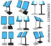 lcd screen stand. trade show... | Shutterstock . vector #1138863353