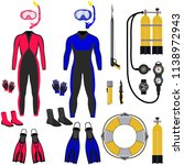 collection for scuba diving ... | Shutterstock .eps vector #1138972943