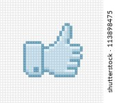 Thumb up icon in the style of pixel art. - stock vector
