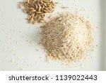 bran oatmeal coarse  useful ... | Shutterstock . vector #1139022443