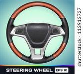 realistic vector steering wheel | Shutterstock .eps vector #113913727