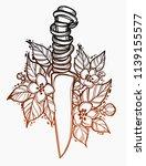 knife in flowers. vector... | Shutterstock .eps vector #1139155577