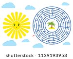 round maze with a cartoon... | Shutterstock .eps vector #1139193953