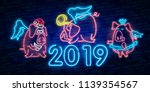 neon pig. symbol of 2019 year.... | Shutterstock .eps vector #1139354567