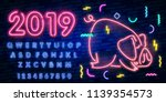 neon pig. symbol of 2019 year.... | Shutterstock .eps vector #1139354573