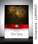 2013 new year celebration gift card or greeting card decorated with red ribbon.  EPS 10. - stock vector