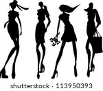silhouette fashion girls | Shutterstock .eps vector #113950393