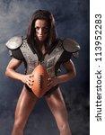 Quarterback Girl With A Ball I...