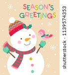 cute cartoon snowman and bird... | Shutterstock .eps vector #1139574353