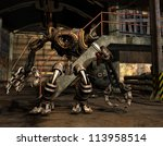 rendering of a steampunk robot - stock photo