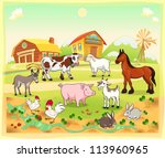 Farm animals with background. Vector and cartoon illustration. - stock vector
