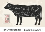 meat cuts. beef cuts. vintage... | Shutterstock .eps vector #1139621207