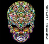 Psychedelic Skull Pop Art Design - stock photo