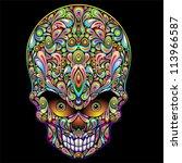 psychedelic skull pop art design | Shutterstock . vector #113966587