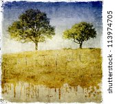 Vintage landscapes detail with two trees - stock photo