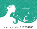 background with beautiful girl... | Shutterstock .eps vector #113988283