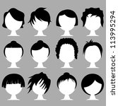 hair styles - stock vector