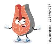 cartoon happy piece of salmon...   Shutterstock .eps vector #1139964797