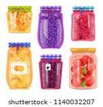preserved food in jars ...   Shutterstock .eps vector #1140032207