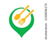 spoons and forks point logo ...   Shutterstock .eps vector #1140036173