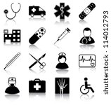 medical icons   16 medical... | Shutterstock .eps vector #114012793