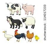 a set of eight cartoon farm... | Shutterstock .eps vector #114017233