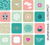 set of abstract symbols  icons... | Shutterstock .eps vector #114019927