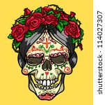 skull with roses  day of the... | Shutterstock .eps vector #114027307
