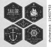 nautical badges and labels | Shutterstock .eps vector #114037933