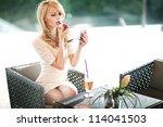 beautiful blond woman   Shutterstock . vector #114041503