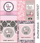baby shower announcement cards | Shutterstock .eps vector #114057037