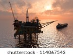 oil rig at late evening | Shutterstock . vector #114067543