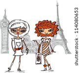 cartoon fashionable girls ... | Shutterstock .eps vector #114080653