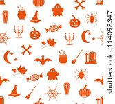 seamless halloween pattern | Shutterstock .eps vector #114098347