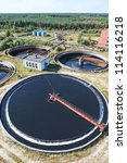 Huge circular sedimentation tank  Water settling, purification in the water station - stock photo
