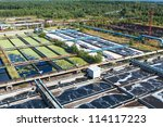 Groups from primary aeration tanks on treatment plant - stock photo