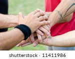 sports hands of group of... | Shutterstock . vector #11411986