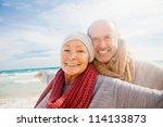 happy senior couple with... | Shutterstock . vector #114133873
