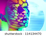beautiful fashion model color face art dot circle shadow - stock photo