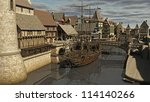Sailing ship moored at Medieval or fantasy waterside town docks, 3d digitally rendered illustration - stock photo