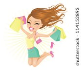 woman happy with her shopping... | Shutterstock .eps vector #114152893
