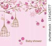 baby shower   girl | Shutterstock .eps vector #114162577